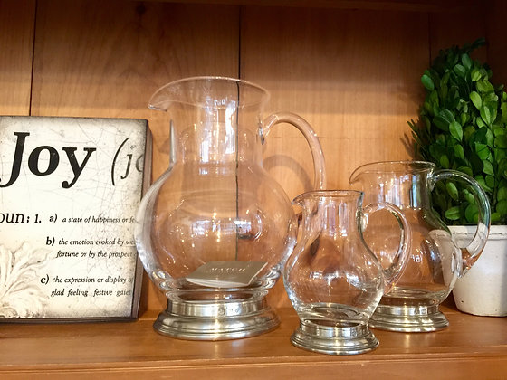 Match Glass Pewter Pitchers