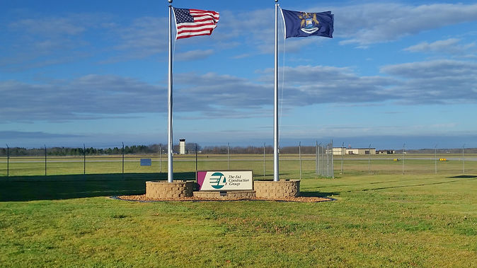 Flag Poles with Company Sign