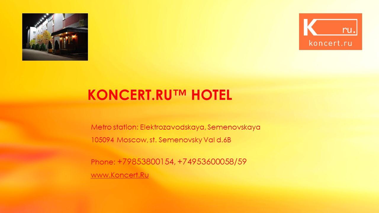 Slide number 1 Hotel Concert, metro Semenovskaya.