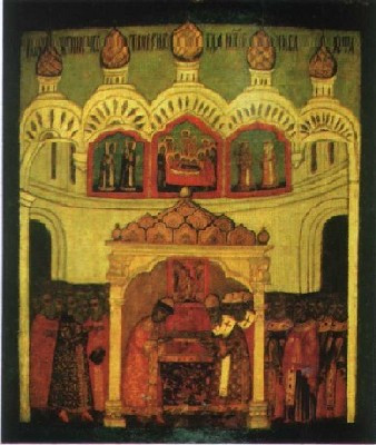 Положение ризы Господней в Успенском соборе. Клеймо храмовой иконы