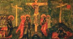Распятие Господне.Воины делят одежды Спасителя.Клеймо храмовой иконы