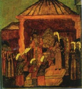 Персидские послы в Москве. Клеймо храмовой иконы