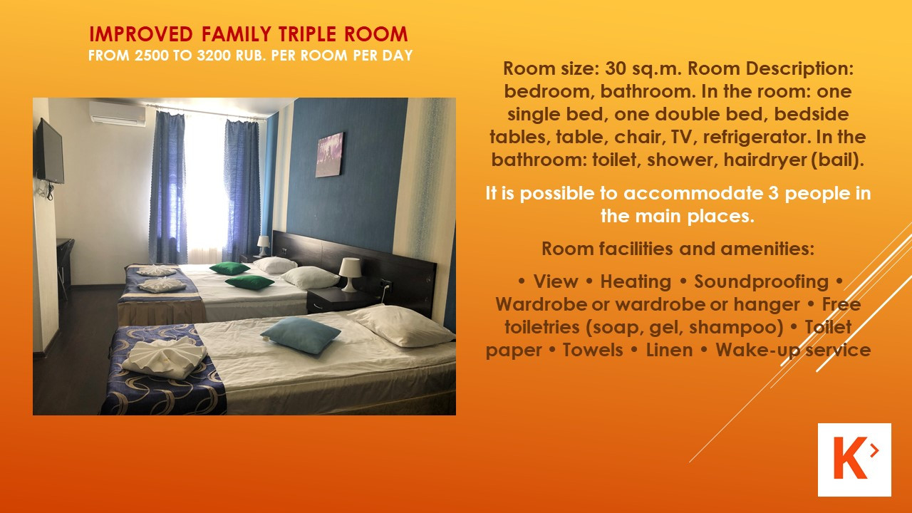 Slide number 12 Description of number of rooms.