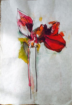An abstract painting of a flower