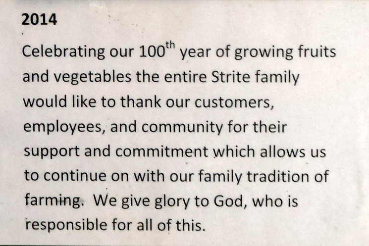 2014 marks their 100th year of growing fruits and vegetables.