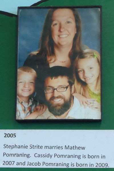 2005 Stephanie Strite marries Mathew Pomraning.  Photo is with their children Cassiy and Jacob.