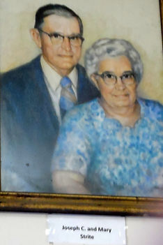 Photo of painting of Joseph and Mary Strite.