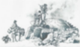 Drawing of men working at a limekiln.