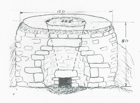 A drawing of the internal as well as the external kiln.