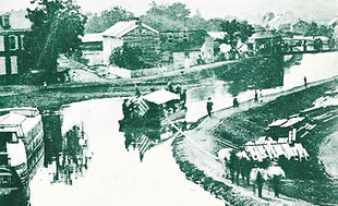 A picnic boat on the Union Canal around 1870.