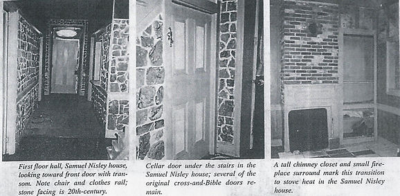 First floor, cella door, and tall chimneyof the Samuel Nisley House.