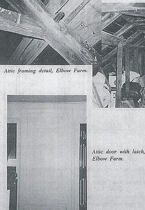 Attic framing at Elbow Farm.