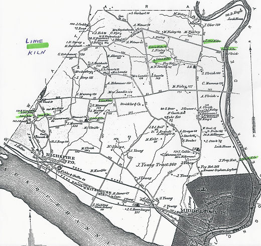 Map of where limestone kilns were located in Lower Swatara Township.