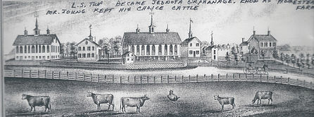 Drawing of one of James Young's farms