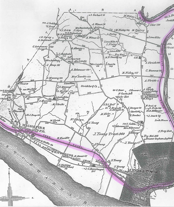 Map of the Union and Pennsylvania Canals.