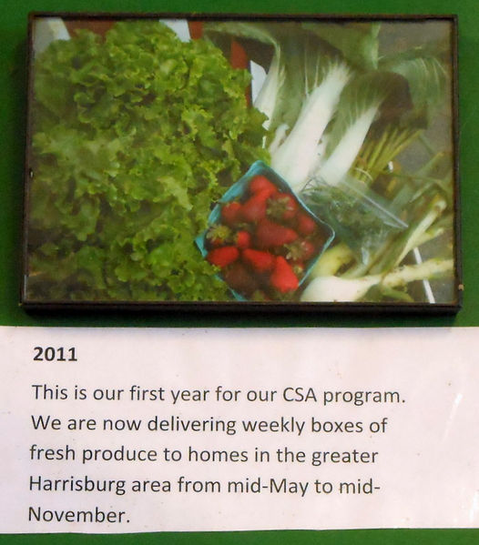 2011 Photo of their CSA Program, delivery weekly boxes of fresh produce.
