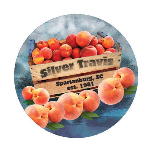Silver Travis Peach Crate Art Button/Magnet