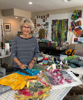 """Sally Dutko says she paints with fabrics."""