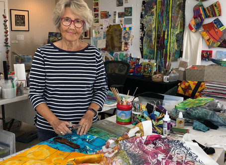 """Sally Dutko says she paints with fabrics."""