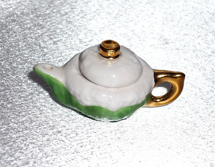 Green & White Teapot