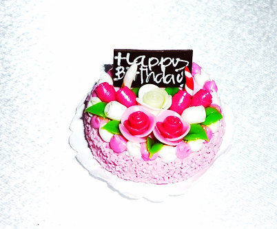 Pink & White Roses Birthday Cake