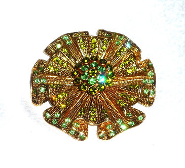 Gold & Green Crystal Flower