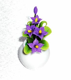 Purple Flowering Plant-Ceramic Pot