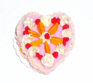 Pink Heart Cake with Peach Slices