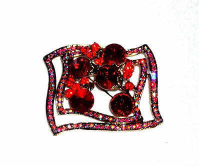 Red Crystal Wavy Rectangle