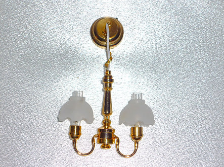 2-Arm Frosted Flute Brass Chandelier