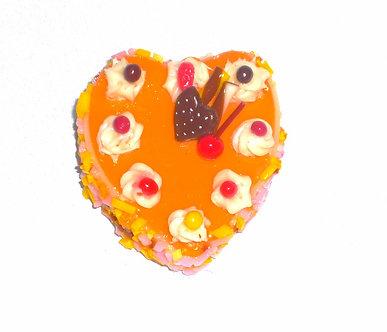 Orange Heart Cake with Cherries