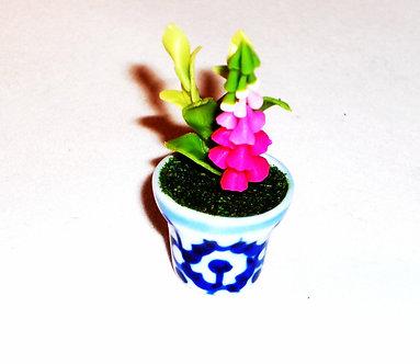Pink Bell Flower -  Blue & White pot