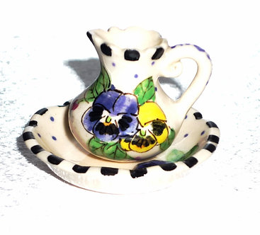 Purple & Yellow Flowers Water Pitcher & Bowl Set