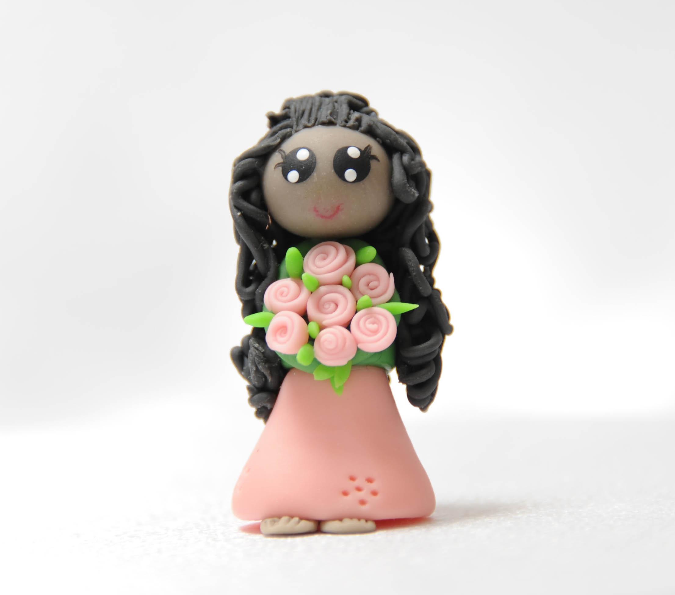 Lady in Pink Dress - Wavy Hair