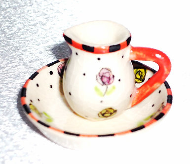 Pink & Yellow Water Pitcher & Bowl Set