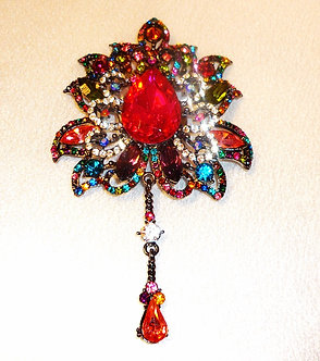 Red Crystal Pendant with a Dangling Crystal