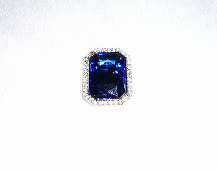 Square Navy Blue Crystal Pendant