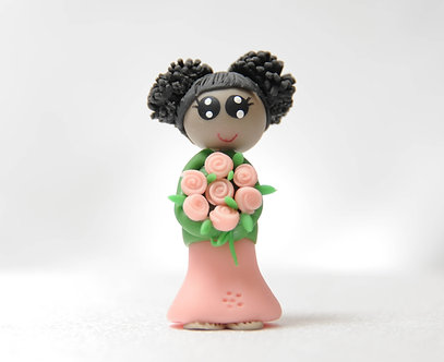 Lady in a Pink & Green Dress - Double Puffs Hairstyle