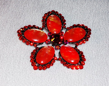 Red Flower with Bead Petals