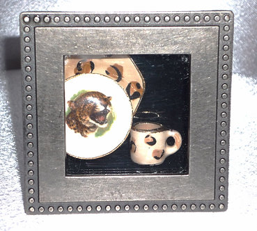 Leopard Place Setting in a Shadow Box