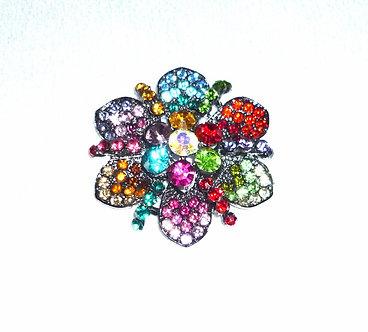 Multi Colored Jewel Tone Crystal Flower