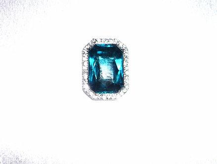 Square Aqua Blue Crystal Pendant