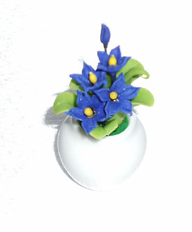 Blue Flowering Plant-Ceramic Pot