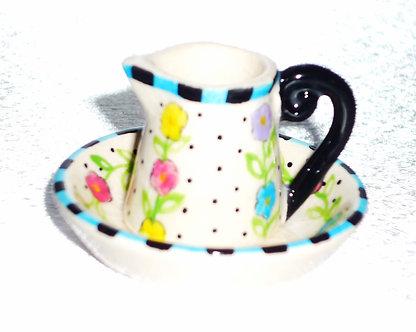 Pastel Floral Water Pitcher & Bowl Set