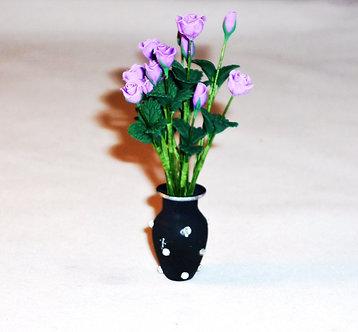 Purple Roses - Black Diamond Vase
