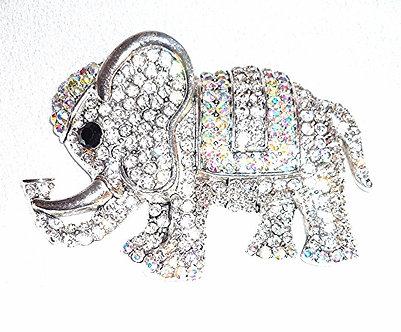 Silver Rhinestone Elephant