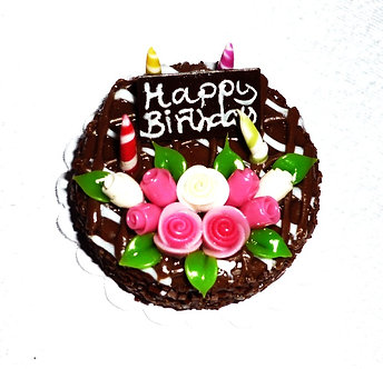 Chocolate Cake with Flowers, Candles & Sign