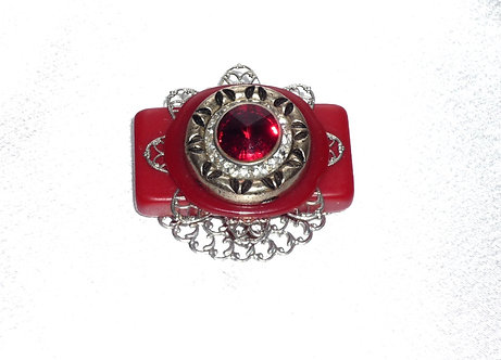 Antique Dominoe with Red Swarovski Crystal