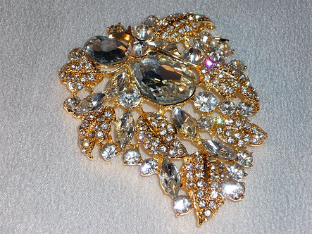 Gold Crystal Leaves with Oval Crystals