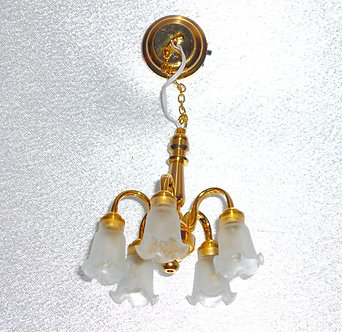5-Arm Frosted Tulip Brass Chandelier